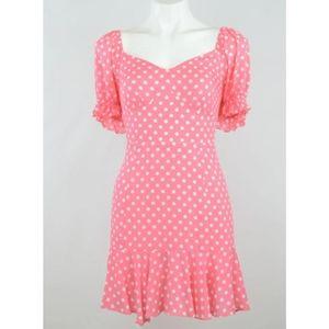 Pink polka dot mini dress